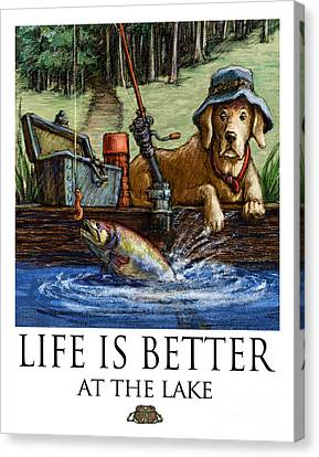 Life Is Better At The Lake Yellow Lab Fishing Canvas Print