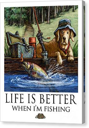 Life Is Better When I'm Fishing Yellow Lab On Dock Canvas Print