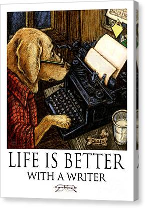 Life Is Better With A Writer Yellow Lab Using Typewriter Canvas Print