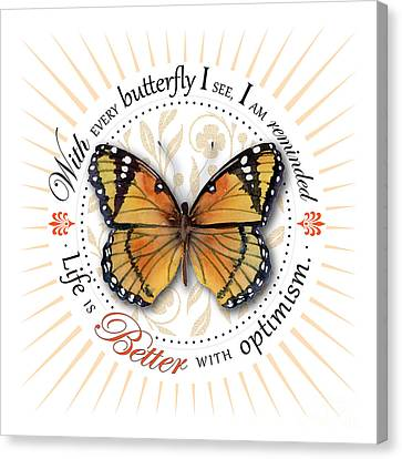 Life Is Better With Optimism Canvas Print by Amy Kirkpatrick