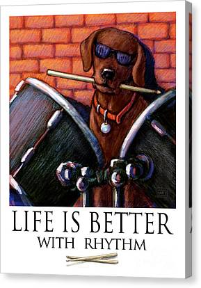 Life Is Better With Rhythm Chocolate Lab Drummer Canvas Print