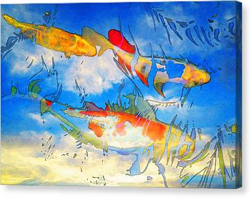 Koi Pond Canvas Print - Life Is But A Dream - Koi Fish Art by Sharon Cummings