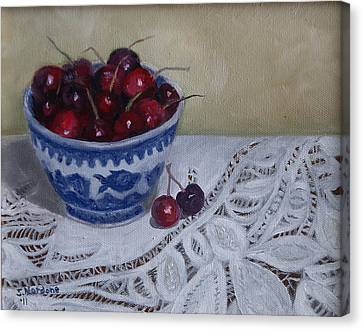 Life Is Just A Bowl Of Cherries Canvas Print by Sandra Nardone