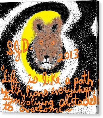 Life Is Like A Path With Lions Everywhere Symbolizing Obstacles To Overcome Canvas Print by Joe Dillon