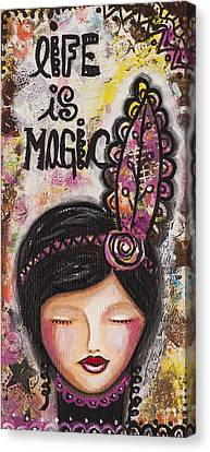 Canvas Print featuring the mixed media Life Is Magic Uplifting Collage Painting by Stanka Vukelic