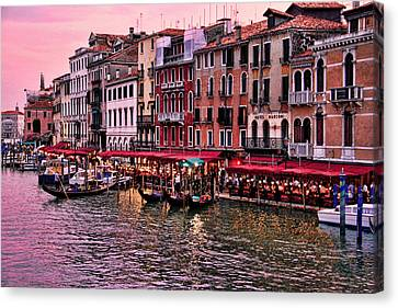 Life On The Grand Canal Canvas Print by Oscar Alvarez Jr