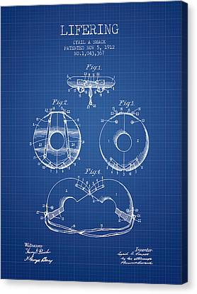 Lifebelt Canvas Print - Life Ring Patent From 1912 - Blueprint by Aged Pixel