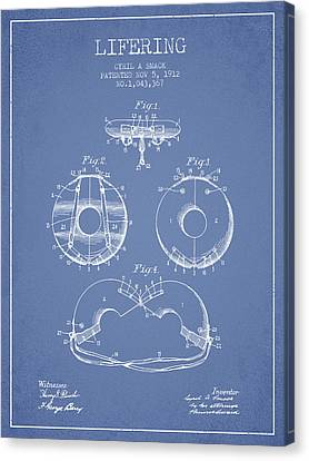 Lifebelt Canvas Print - Life Ring Patent From 1912 - Light Blue by Aged Pixel