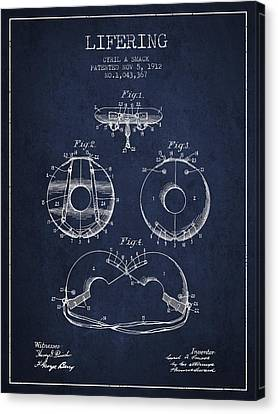 Lifebelt Canvas Print - Life Ring Patent From 1912 - Navy Blue by Aged Pixel