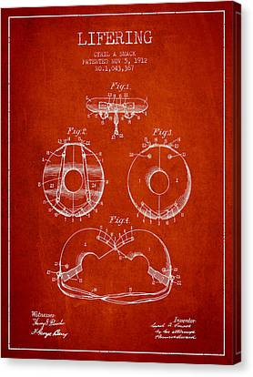 Lifebelt Canvas Print - Life Ring Patent From 1912 - Red by Aged Pixel