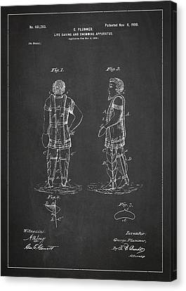 Life Saving And Swimming Apparatus Patent Drawing From 1900 Canvas Print by Aged Pixel