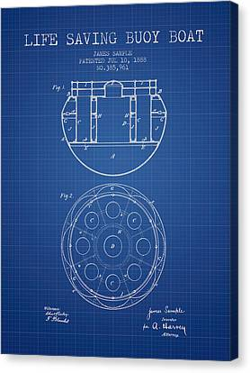 Lifebelt Canvas Print - Life Saving Buoy Boat Patent From 1888 - Blueprint by Aged Pixel