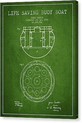 Lifebelt Canvas Print - Life Saving Buoy Boat Patent From 1888 - Green by Aged Pixel