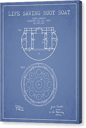 Lifebelt Canvas Print - Life Saving Buoy Boat Patent From 1888 - Light Blue by Aged Pixel
