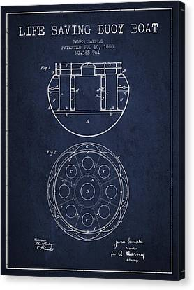 Lifebelt Canvas Print - Life Saving Buoy Boat Patent From 1888 - Navy Blue by Aged Pixel