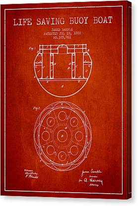 Lifebelt Canvas Print - Life Saving Buoy Boat Patent From 1888 - Red by Aged Pixel
