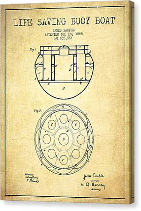 Lifebelt Canvas Print - Life Saving Buoy Boat Patent From 1888 - Vintage by Aged Pixel