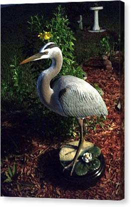 Life Size Great Blue Heron Wildlife Art Sculpture Canvas Print by Chris Dixon