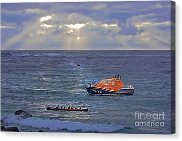 Sennen Cove Canvas Print - Lifeboats And A Gig by Terri Waters