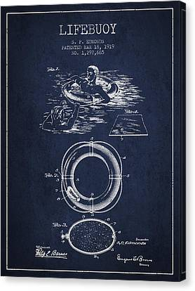Lifebelt Canvas Print - Lifebuoy Patent From 1919 - Navy Blue by Aged Pixel