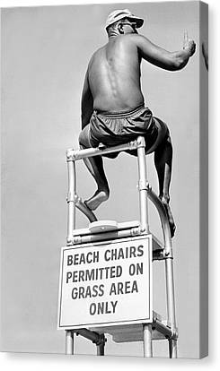 Lifeguard At The Beach Canvas Print by Underwood Archives