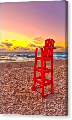 Lifeguard Chair At The Beach Canvas Print by Brian Mollenkopf