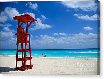 Canvas Print featuring the photograph Lifeguard Chair  by Sarah Mullin