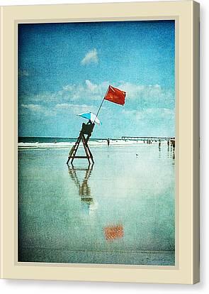 Lifeguard Flag Canvas Print by Linda Olsen