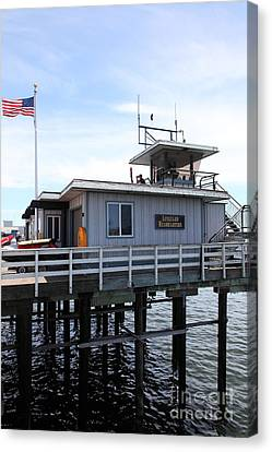 Lifeguard Headquarters On The Municipal Wharf At Santa Cruz Beach Boardwalk California 5d23827 Canvas Print by Wingsdomain Art and Photography