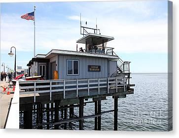 Lifeguard Headquarters On The Municipal Wharf At Santa Cruz Beach Boardwalk California 5d23828 Canvas Print by Wingsdomain Art and Photography