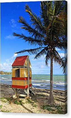 Lifeguard Hut On A Beach Canvas Print by George Oze
