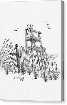 Sand Fences Canvas Print - Lifeguard Stand by Al Intindola