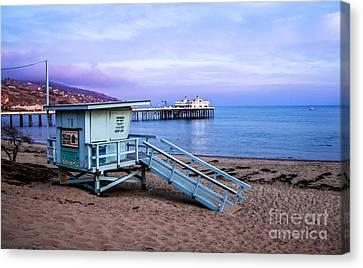Lifeguard Tower And Malibu Beach Pier Seascape Fine Art Photograph Print Canvas Print by Jerry Cowart