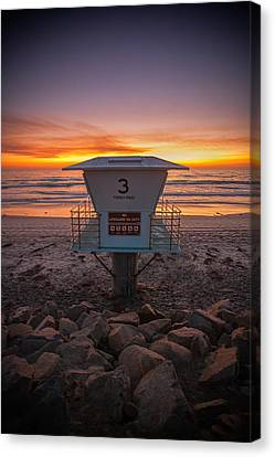 Torrey Pines Canvas Print - Lifeguard Tower At Dusk by Peter Tellone