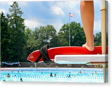 Lifeguard Watches Swimmers Canvas Print