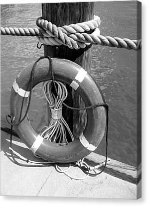 Canvas Print featuring the photograph Lifesaver - Black And White by Ellen Tully