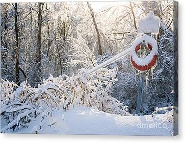 Lifesaver In Winter Snow Canvas Print