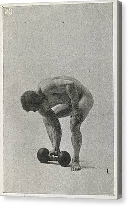 Lifting A Weight Canvas Print by British Library