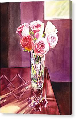 Light And Roses Impressionistic Still Life Canvas Print by Irina Sztukowski
