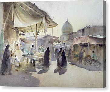 Light And Shade, Shiraz Bazaar, 1994 Wc On Paper Canvas Print by Trevor Chamberlain