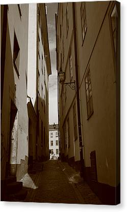 Light And Shadow In A Narrow Alley - Monochrome Canvas Print