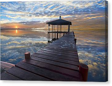 Light At The Lake Canvas Print by Debra and Dave Vanderlaan
