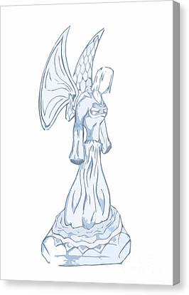 Light Blue Abstract Angel Drawing Canvas Print