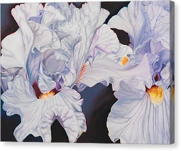Microcosm Canvas Print - Light Blue Irises  by Georgia  Michaelides Saad