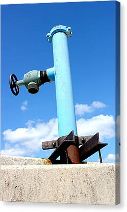 Light Blue Pipe Industrial Decay Series No 005 Canvas Print by Design Turnpike