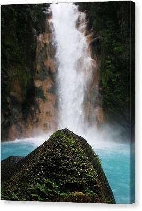 Light-blue Waterfall Canvas Print by Rosvin Des Bouillons