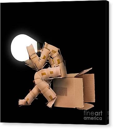 Light Bulb Box Man Character Canvas Print