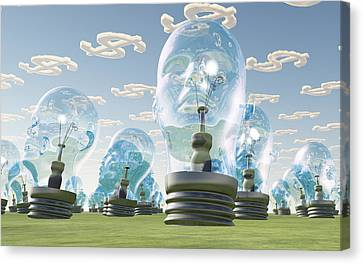 Light Bulb Heads And Dollar Symbol Clouds Canvas Print