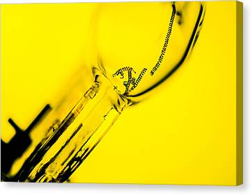 Light Bulb In Yellow Canvas Print by Tommytechno Sweden