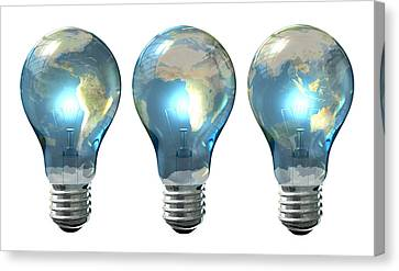 Light Bulb World Globe Series Canvas Print by Allan Swart
